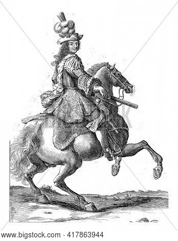 Portrait of Christian V, King of Denmark and Norway, on horseback with a command staff in his hand. At the bottom in the margin are name and position in Dutch.