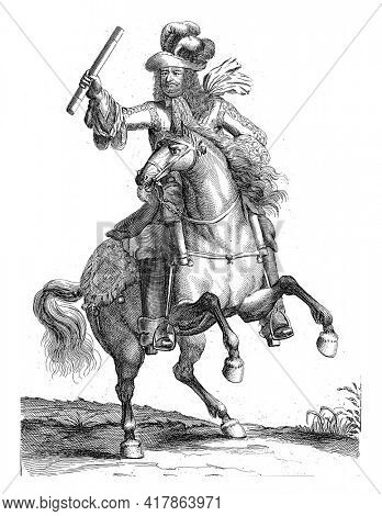 Portrait of Frederick William, Elector of Brandenburg, on horseback with a command staff in his hand. At the bottom in the margin are name and position in Dutch.