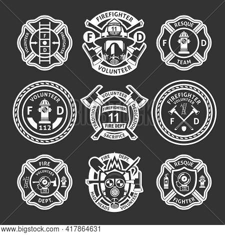 Firefighter White Label Or Stripes Set On Form For Firefighters On A Black Background Vector Illustr