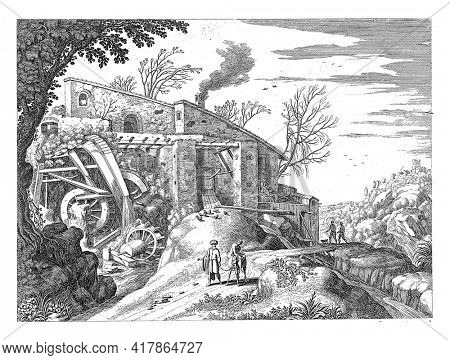 On the road in an Italian landscape, in front of a watermill, the Good Samaritan walks with the donkey by his hand, on which he transports the injured traveler