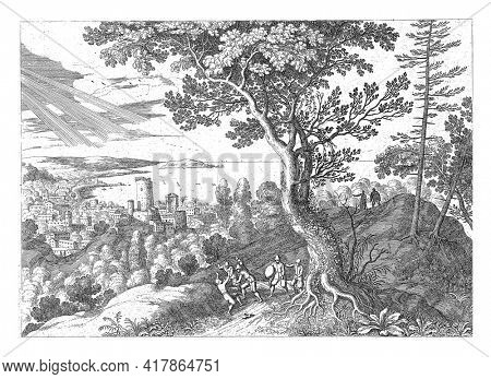 In a landscape a man is attacked and beaten by four robbers. Two men watch on the hill. This is probably the man who is attacked from the Bible