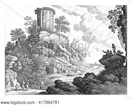 An Italian landscape with to the left on a hill the ruins of a round temple, possibly the temple of the Sibyl in Tivoli. In the left foreground are a man, two women, a child and a dog