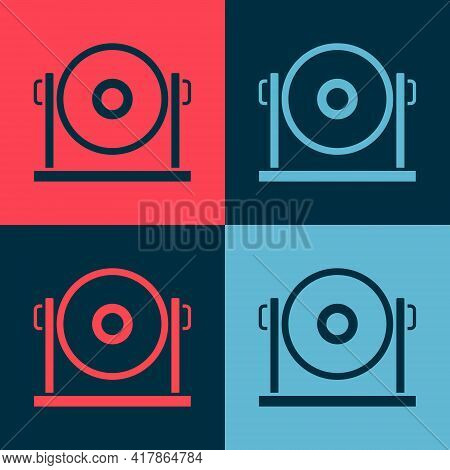 Pop Art Gong Musical Percussion Instrument Circular Metal Disc Icon Isolated On Color Background. Ve