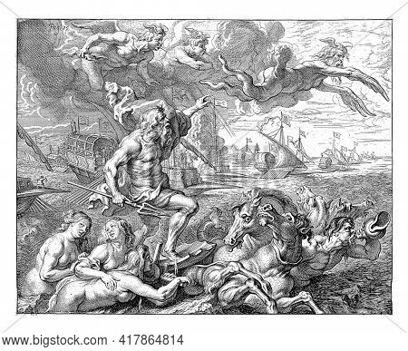 Ferdinand's journey by sea from Barcelona to Genoa in Italy.In the foreground, Neptune in his chariot with sea nymphs,chasing the northern wind away Boreas. The left presentation on the welcome stage