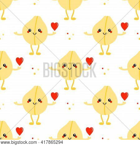 Cute Cartoon Style Smiling Chickpea, Chick Pea Seed Character Holding Red Heart Vector Seamless Patt