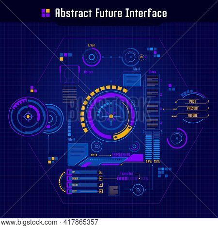 Abstract Future Interface Concept Future Style User Interface With Round Buttons Charts And Progress