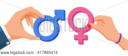 Pink And Blue Gender Symbol In Hands Isolated On White. Feminine And Masculine Signs. Male, Female,