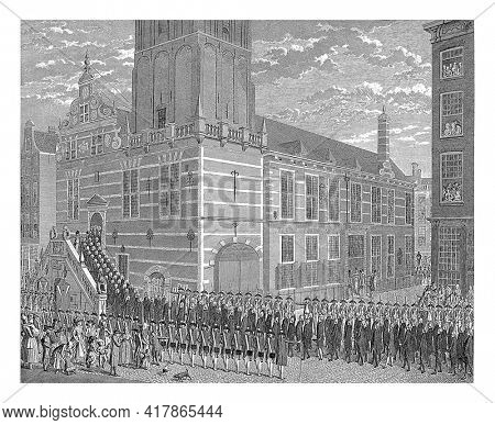 Arrival of the delegation of patriots at the city hall of Rotterdam to force the removal of some orange-minded councilors, April 3, 1787. The delegation walks up the stairs of the city hall