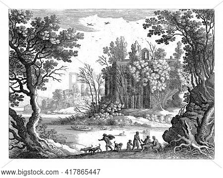 On the other side of a river is a tall building surrounded by trees. There is a village to the left of the bank. In the foreground a few men, a child and dogs