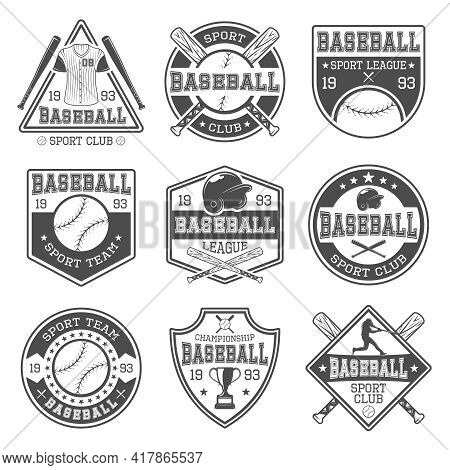 Baseball Black White Emblems Of Clubs And Tournaments With Batter Sports Outfit And Trophy Isolated