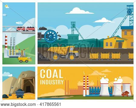 Flat Coal Industry Colorful Composition With Dump Trucks Industrial Plants Chimneys Products Transpo