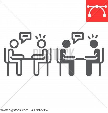 Interview Line And Glyph Icon, Discussion And Two People Talking, Recruitment Interview Vector Icon,