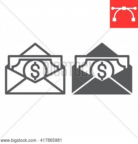 Salary Line And Glyph Icon, Corruption And Earnings, Money In Envelope Vector Icon, Vector Graphics,
