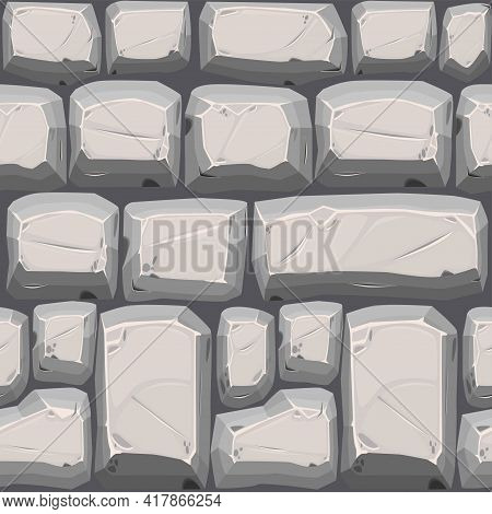 Cobble Stones Seamless Texture, Gray Vintage Road Pattern For Wallpaper.