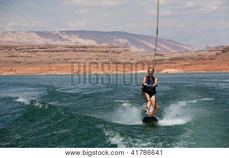 Blonde Wakboarding In The Desert
