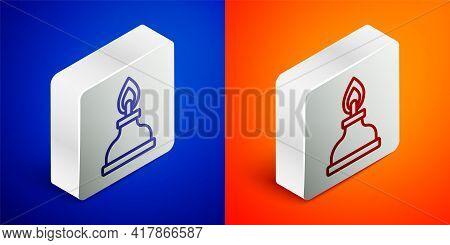 Isometric Line Alcohol Or Spirit Burner Icon Isolated On Blue And Orange Background. Chemical Equipm