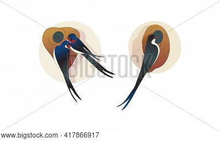 Swallow Or Martin As Passerine Bird With Long Tail Perching On The Nest Vector Set