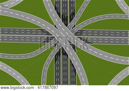 Road Junction And Bridges Top View Isolated On Green Background. Aerial View Of Highway. Empty Inter