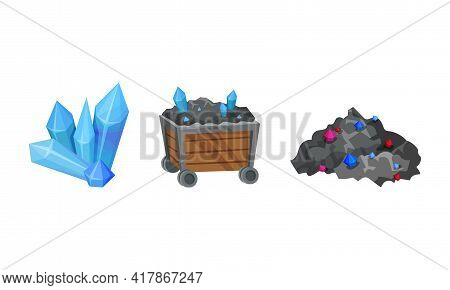 Mining Industrial Attribute With Pile Of Valuable Minerals And Trolley Vector Set
