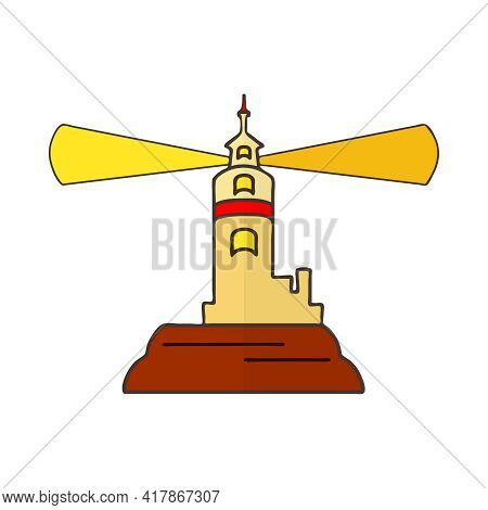 Lighthouse Isolated On White Background. Color Beacon Tower Icon In Simple Flat Style Design. Buildi