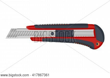 Red Cutter Knife Isolated On White Background. Stationery Paper Knife With Retractable Blade. Office