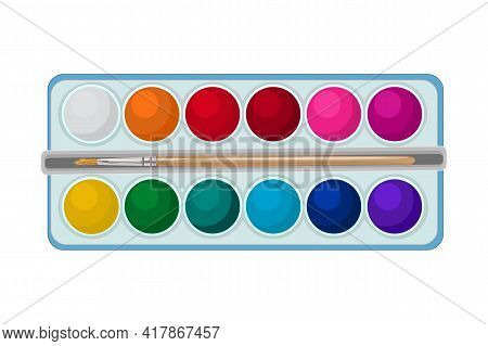Top View Of Watercolor Paints In Box With  Paint Brush Isolated On White Background. Colorful Waterc