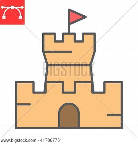 Sand Castle Color Line Icon, Summer And Beach, Castle Vector Icon, Vector Graphics, Editable Stroke