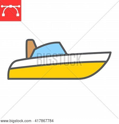 Speedboat Color Line Icon, Motor Boat And Beach, Motorboat Vector Icon, Vector Graphics, Editable St