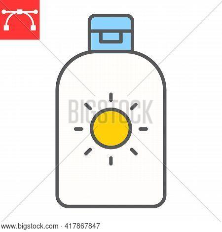Sunscreen Color Line Icon, Spf And Sunblock, Sun Lotion Vector Icon, Vector Graphics, Editable Strok