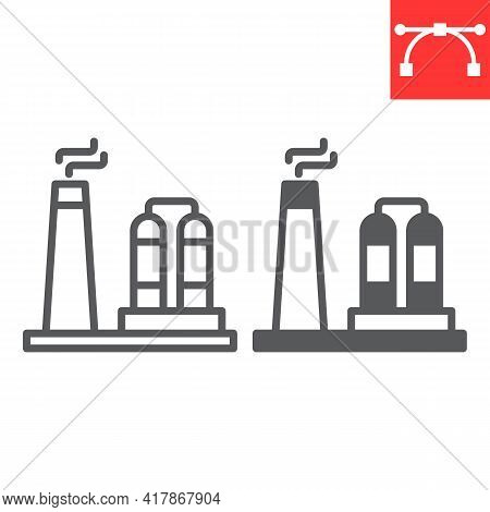 Refinery Line Icon, Factory And Industry, Chemical Plant Vector Icon, Vector Graphics, Editable Stro