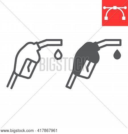 Gasoline Pump Nozzle Line And Glyph Icon, Diesel And Gas Station, Fuel Pump Nozzle Vector Icon, Vect