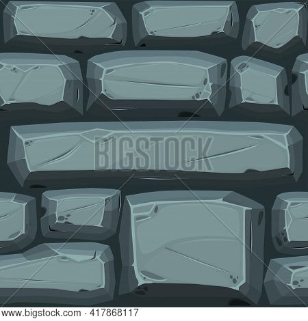 Cobble Stones Seamless Pattern, Blue Texture Paving Stone For Wallpaper.