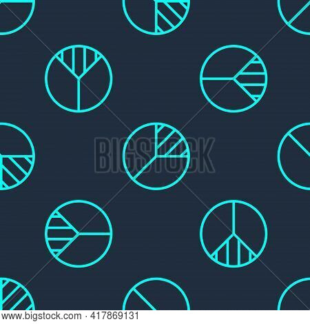 Green Line Pie Chart Infographic Icon Isolated Seamless Pattern On Blue Background. Diagram Chart Si