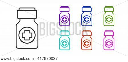 Black Line Medicine Bottle And Pills Icon Isolated On White Background. Bottle Pill Sign. Pharmacy D