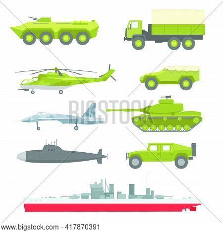 Creative Military Technics Collection For Web Design. Cartoon Armored Vehicles, Aircraft And Submari