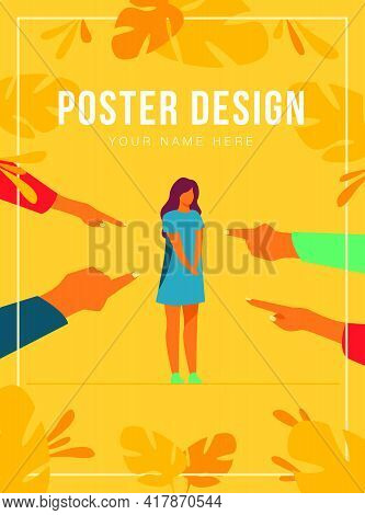 Depressed Sad Woman Standing As Victim Flat Vector Illustration. Surrounded Girl And Fingers Pointin