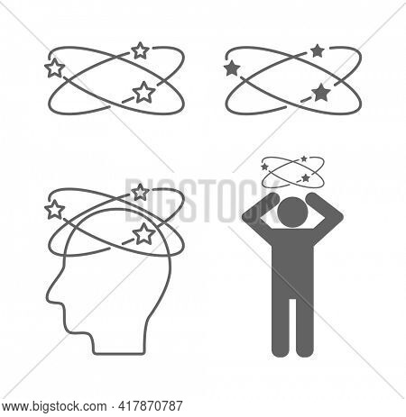 dizzy head person sick concept icon isolated on white background