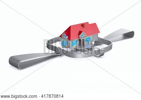 bear trap and house on white background. Isolated 3D illustration