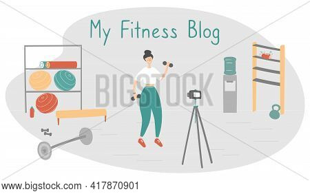Fitness Blog. Trainer Records Videos For Her Followers. Remote Workout Concept. Sportswoman Trains A