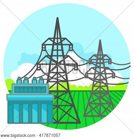 Electricity Transmission. The Concept Of Power Lines And Transformer Substation. Illustration In Fla