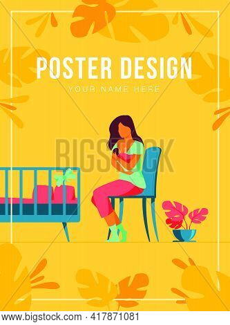 Happy Mother Breastfeeding Her Baby Flat Vector Illustration. Cartoon Parent Giving Milk To Infant V