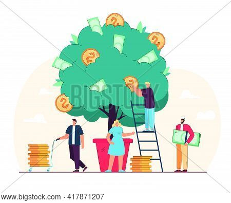 Happy Tiny People Growing Money Tree Isolated Flat Vector Illustration. Cartoon Characters Investing
