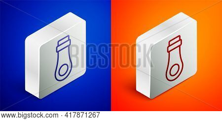 Isometric Line Zipper Icon Isolated On Blue And Orange Background. Silver Square Button. Vector