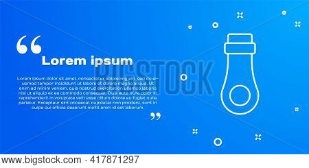 White Line Zipper Icon Isolated On Blue Background. Vector