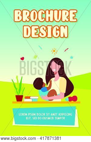 Happy Woman Holding Baby And Smiling. Kid, Child, Infant Flat Vector Illustration. Nursery And Child