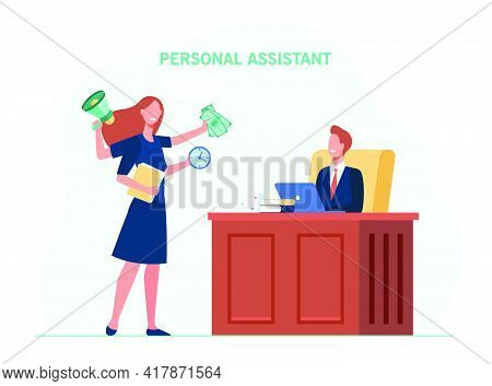 Leader Working With Personal Assistant. Active Multi Armed Secretary Helping Boss, Politician, Execu