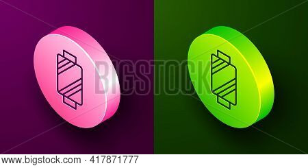 Isometric Line Sewing Thread On Spool Icon Isolated On Purple And Green Background. Yarn Spool. Thre