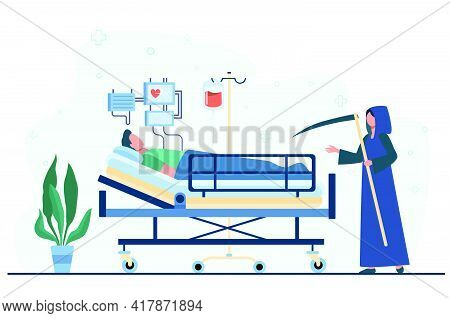 Patient Dying In Intensive Care Unit. Scythe Of Death, Life Support System. Flat Vector Illustration