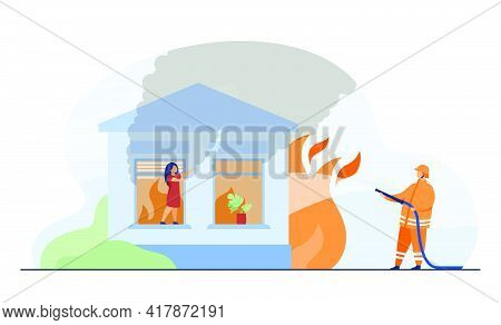 Professional Firefighter Extinguishing Fire In House. Girl, Window, Flame Flat Vector Illustration.