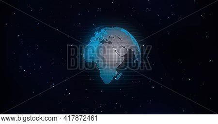 Global Communication Concept, The Earth Rotating With Node The Blue Marble. Earth Rotating Animation